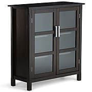 "Simpli Home Kitchener 42.2"" Wood Storage Cabinet with 4 Shelves, Dark Walnut Brown (3AXCRGL007)"