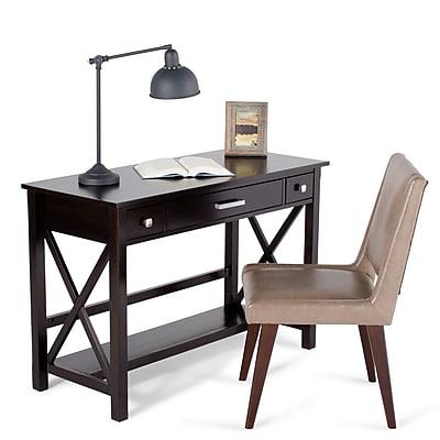 Simpli Home Kitchener Desk in Dark Walnut Brown (3AXCRGL008)
