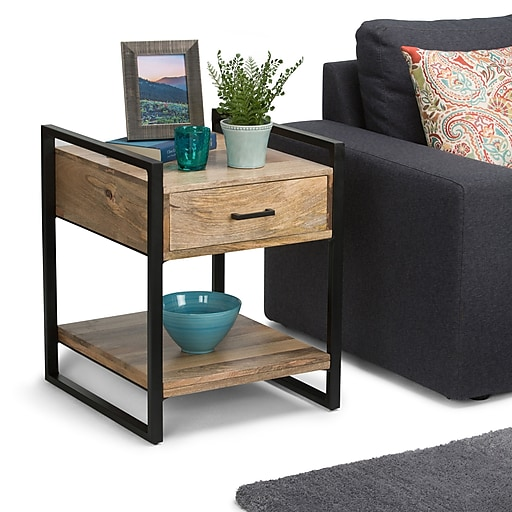 Simpli Home Riverside End Side Table in Natural (3AXCRIV-02)