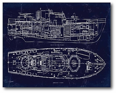 Boat Blueprint I Canvas Wall Art