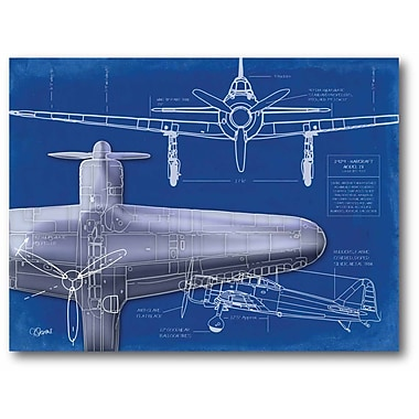 Airplane Blueprint 1 Stretched Canvas Wall Art