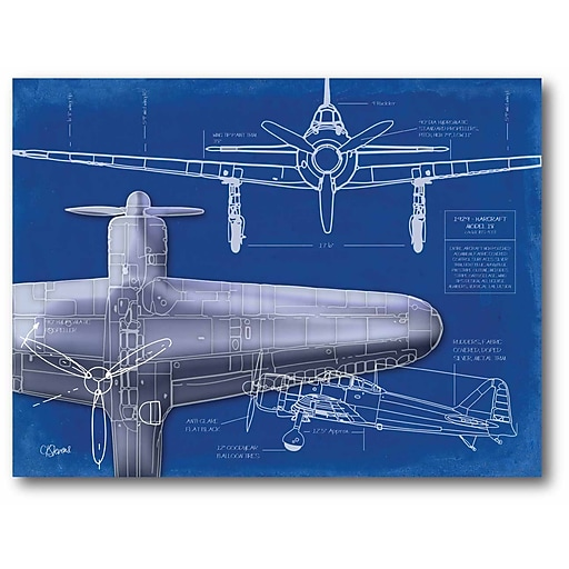 Airplane blueprint 1 stretched canvas wall art staples httpsstaples 3ps7is malvernweather Image collections