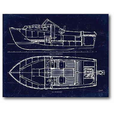 Boat Blueprint II Canvas Wall Art