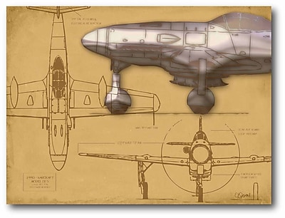 Airplane Blueprint Tan II Stretched Canvas Wall Art