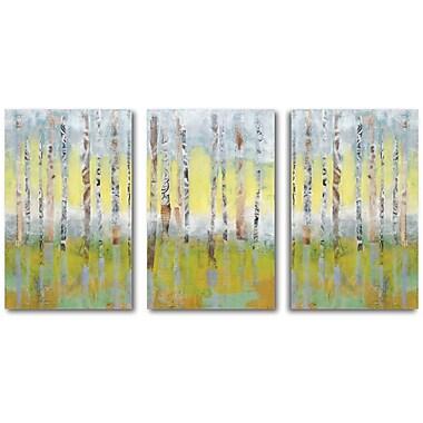 Yellow Sky Birch Trees Multiple Canvas Wall Art