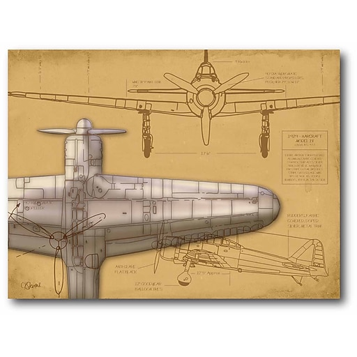 Airplane blueprint tan i stretched canvas wall art staples httpsstaples 3ps7is malvernweather Image collections