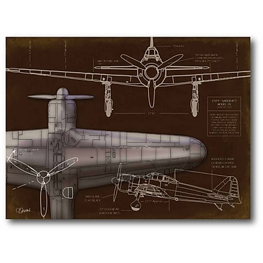 Airplane Blueprint Brown I Stretched Canvas Wall Art