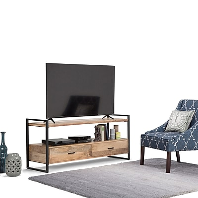 Simpli Home Riverside TV Media Stand in Natural (3AXCRIV-05)