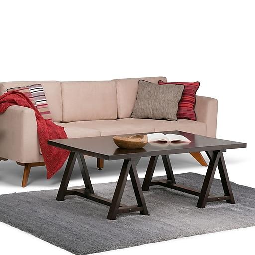 Simpli Home Sawhorse Coffee Table in Dark Chestnut Brown (3AXCSAW-01-BR)