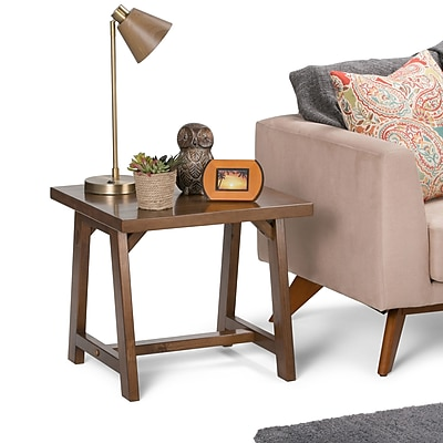 Simpli Home Sawhorse End Side Table in Medium Saddle Brown (3AXCSAW-02)