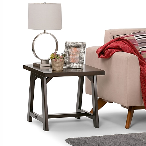 Simpli Home Sawhorse End Side Table in Dark Chestnut Brown (3AXCSAW-02-BR)