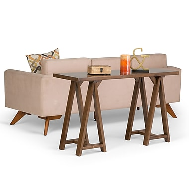 Simpli Home Sawhorse Console Sofa Table in Medium Saddle Brown (3AXCSAW-03)