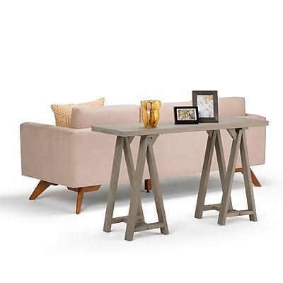 Simpli Home Sawhorse Console Sofa Table in Distressed Grey (3AXCSAW-03-GR)