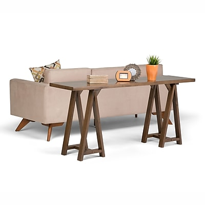 Simpli Home Sawhorse Wide Console Sofa Table in Medium Saddle Brown (3AXCSAW-03W)
