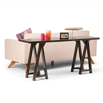 Simpli Home Sawhorse Console Sofa Table in Dark Chestnut Brown (3AXCSAW-03W-BR)