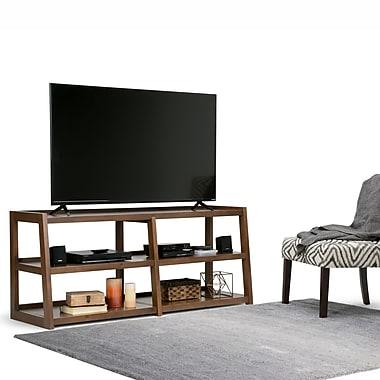 Simpli Home Sawhorse Wide TV Media Stand in Medium Saddle Brown (3AXCSAW-04W)