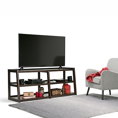 Simpli Home Sawhorse Wide TV Media Stand in Dark Chestnut Brown (3AXCSAW-04W-BR)