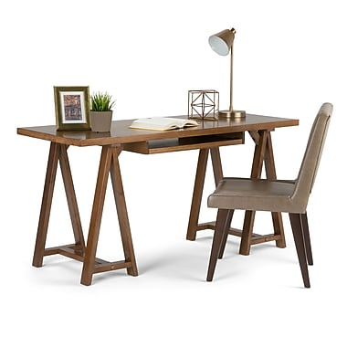 Simpli Home Sawhorse 60 x 24 x 30 inch Desk in Medium Saddle Brown (3AXCSAW-07)