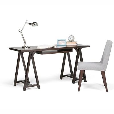 Simpli Home Sawhorse Desk in Dark Chestnut Brown (3AXCSAW-07-BR)