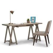 Simpli Home Sawhorse Desk in Distressed Grey (3AXCSAW-07-GR)