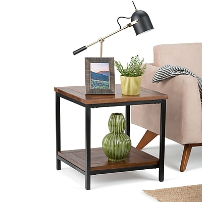 Simpli Home Skyler End Side Table in Dark Cognac Brown (3AXCSKY-03)