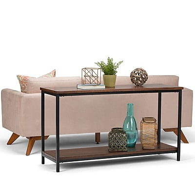 Simpli Home Skyler Console Sofa Table in Dark Cognac Brown (3AXCSKY-04)