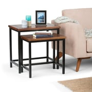 Simpli Home Skyler Nesting 2 Pc Side Table in Dark Cognac Brown (3AXCSKY-06)