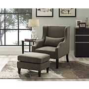 Simpli Home Ashbury Wingback Club Chair & Ottoman in Fawn Brown (AXCCHR-001-BRL)