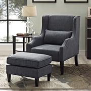 Simpli Home Ashbury Wingback Club Chair & Ottoman in Slate Grey (AXCCHR-001-GL)