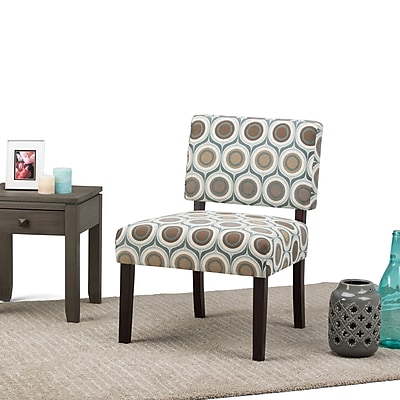 Simpli Home Virginia Accent Chair in Circle Patterned Brown and Grey (AXCCHR-005-1)