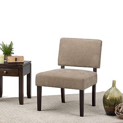 Simpli Home Virginia Accent Chair in Tan Check (AXCCHR-005-2)