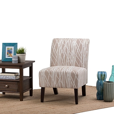 Simpli Home Woodford Accent Chair in Beige and White (AXCCHR-008-BG)