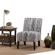 Simpli Home Woodford Accent Chair in Grey and White (AXCCHR-008-G)