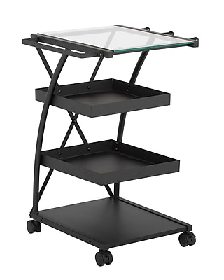 Studio Designs Triflex Taboret Metal (3 Storage Shelf) Charcoal / Clear Glass (13273)