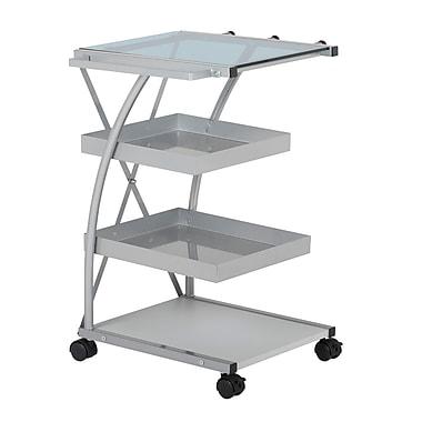 Studio Designs Triflex Taboret Metal Three Shelf Storage Shelf Silver / Blue Glass (13274)