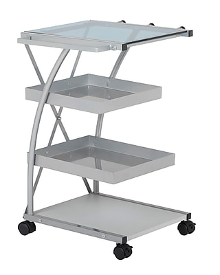 Studio Designs Triflex Taboret Metal Three Shelf Storage Shelf Silver / Blue Glass (13274)