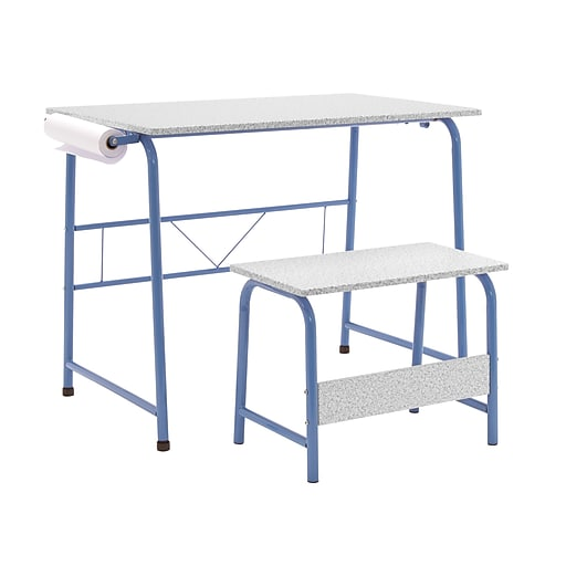 """Studio Designs 35.5""""W Project Center Corner Table Blue Frame and Spatter Gray Top (55126)"""