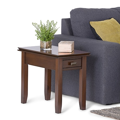 Simpli Home Artisan Narrow Side Table in Medium Auburn Brown (AXCHOL013)