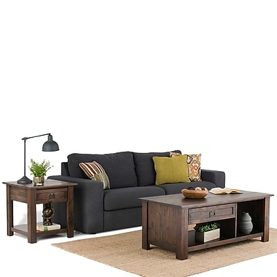 Simpli Home Monroe Rectangular Coffee Table in Distressed Charcoal Brown (AXCMON-01)