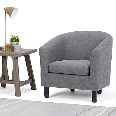 Simpli Home Austin Tub Chair in Grey (AXCTUB-003-GL)