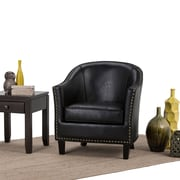 Simpli Home Kildare Tub Chair in Distressed Brown (AXCTUB-004-DBR)