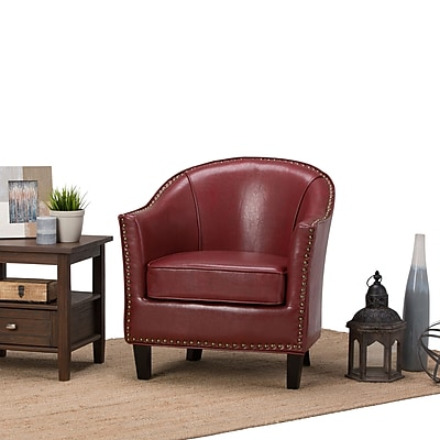 Simpli Home Kildare Tub Chair in Radicchio Red (AXCTUB-004-RRD)