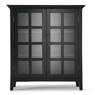 Simpli Home Acadian Medium Storage Cabinet in Black (AXREG007-BL)