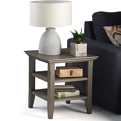Simpli Home Acadian End Side Table in Farmhouse Grey (AXWELL3-003-FG)