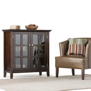 Simpli Home Acadian Low Storage Cabinet in Tobacco Brown (AXWELL3-010)