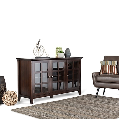 Simpli Home Acadian Wide Storage Cabinet in Tobacco Brown (AXWELL3-012)