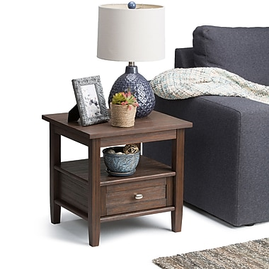 Simpli Home Warm Shaker End Side Table in Farmhouse Brown (AXWSH002-FB)