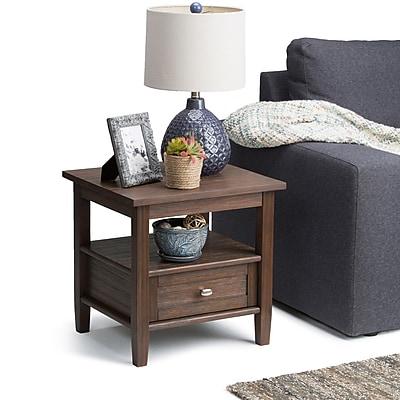 Simpli Home Warm Shaker End Side Table in Farmhouse Brown (AXWSH002-FB)