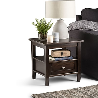 Simpli Home Warm Shaker End Side Table in Tobacco Brown (AXWSH002-TB)