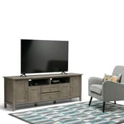 "Simpli Home Warm Shaker 72"" TV Media Stand in Distressed Grey (AXWSH003-72-GR)"